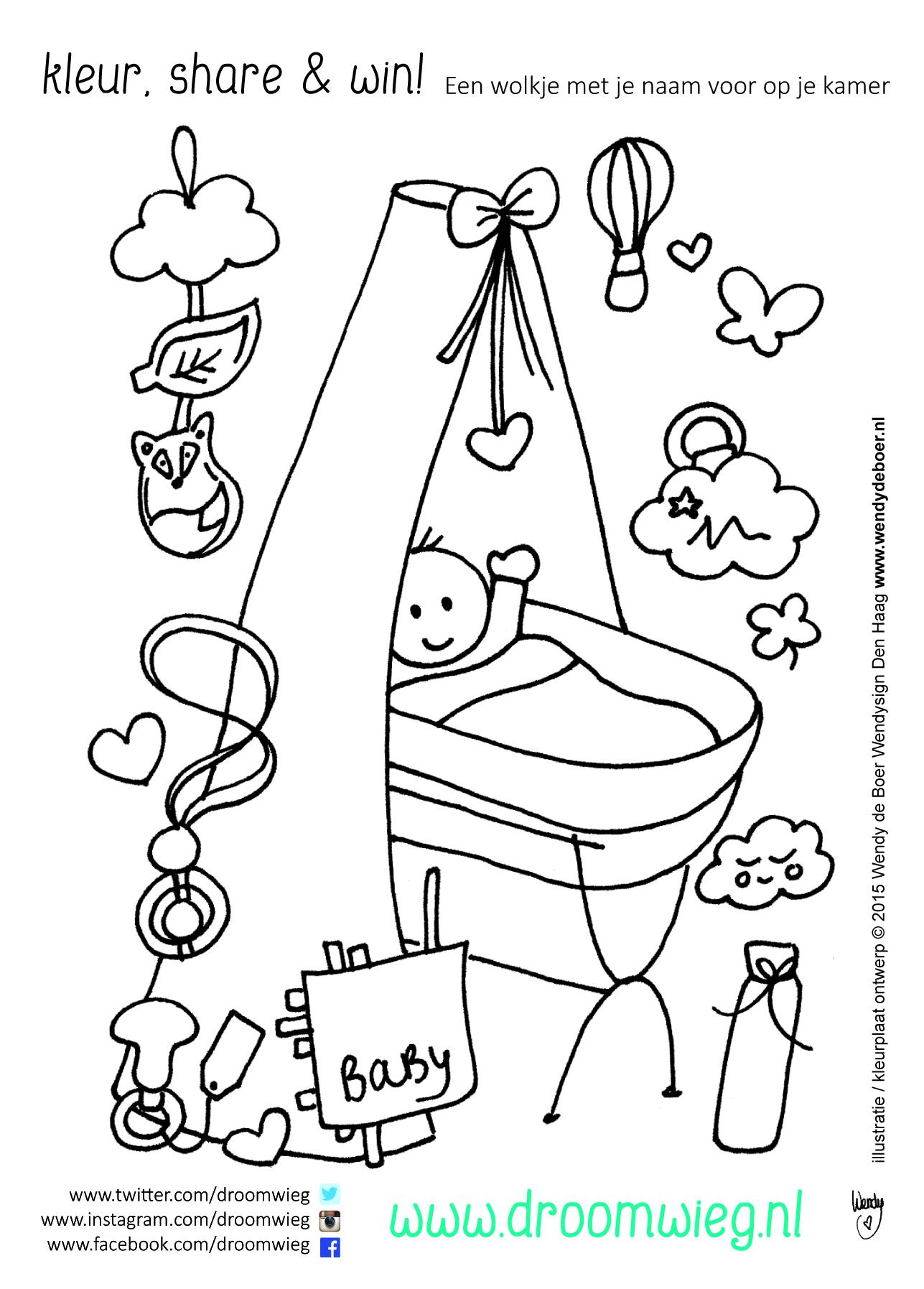 kleurplaten baby in wiegje