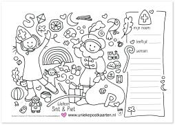 DO sinterklaas kleurplaat Wendy de Boer uniekepostkaarten