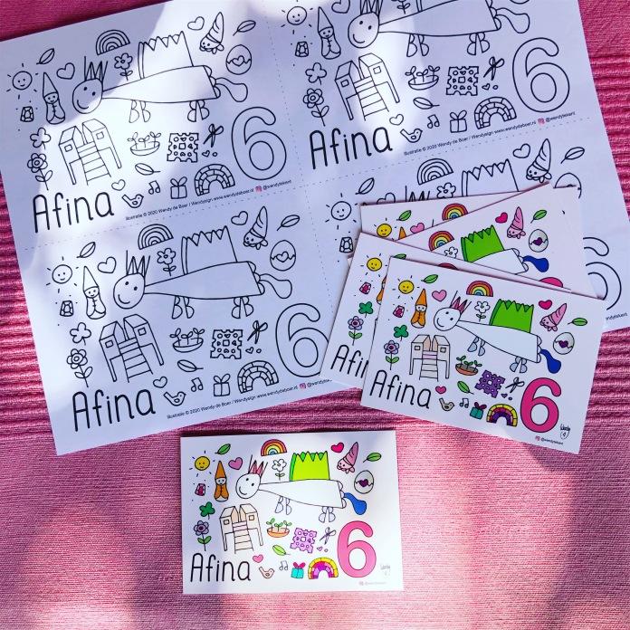 Voorbeeld A6 formaat kleurplaat (4 op 1 A4) en mini-kaartjes A7